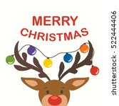 Cute Reindeer With Festive...