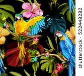 Seamless Pattern Of Parrots On...