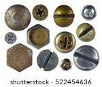 Many Metallic Screw Heads  Nut...