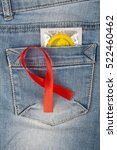yellow condom in blue jeans... | Shutterstock . vector #522460462