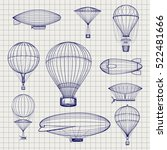 hand drawn air hot balloons and ... | Shutterstock .eps vector #522481666
