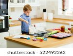 cute child learning to become a ... | Shutterstock . vector #522492262