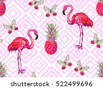 summer jungle pattern with... | Shutterstock .eps vector #522499696