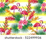 summer jungle pattern with with ... | Shutterstock .eps vector #522499936