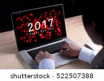 2017 new year appear on laptop... | Shutterstock . vector #522507388