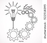 light bulb with gears and cogs... | Shutterstock .eps vector #522518395