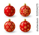 Set Of Red Christmas Balls For...