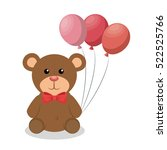 cute bear with balloons party... | Shutterstock .eps vector #522525766