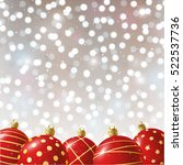 red christmas balls on shiny... | Shutterstock .eps vector #522537736