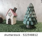 toy christmas house and fir tree | Shutterstock . vector #522548812
