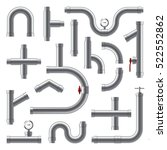 pipes metal realistic set in... | Shutterstock .eps vector #522552862