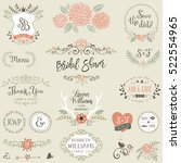 hand drawn bridal shower and... | Shutterstock .eps vector #522554965