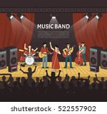 pop music band flat vector... | Shutterstock .eps vector #522557902