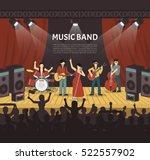 pop music band flat vector... | Shutterstock .eps vector #522557902