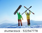 skier and snowboarder stands... | Shutterstock . vector #522567778