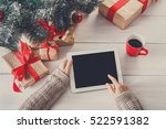 christmas online shopping above ... | Shutterstock . vector #522591382