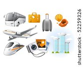 travel icons with transport and ...   Shutterstock .eps vector #52259326