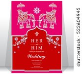 india wedding card  gold... | Shutterstock .eps vector #522604945