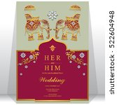 india wedding card  gold... | Shutterstock .eps vector #522604948