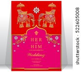 india wedding card  gold... | Shutterstock .eps vector #522605008