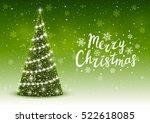 christmas trees on shiny green... | Shutterstock .eps vector #522618085