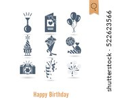 happy birthday icons set.... | Shutterstock .eps vector #522623566