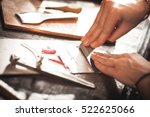 leather handbag craftsman at... | Shutterstock . vector #522625066