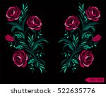 embroidery ethnic flowers neck... | Shutterstock .eps vector #522635776