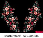 embroidery ethnic flowers neck... | Shutterstock .eps vector #522635836