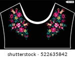 embroidery ethnic flowers neck... | Shutterstock .eps vector #522635842
