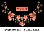 embroidery ethnic flowers neck... | Shutterstock .eps vector #522635866