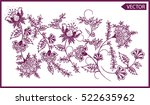 embroidery ethnic flowers neck... | Shutterstock .eps vector #522635962