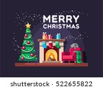 christmas living room with tree ... | Shutterstock .eps vector #522655822