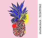 pineapple tropical fruit.... | Shutterstock .eps vector #522659362