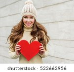 beautiful smiling  brunette... | Shutterstock . vector #522662956