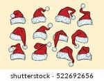 set hats santa claus christmas... | Shutterstock .eps vector #522692656