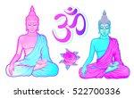 Sitting Buddhas Isolated On...