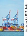 port cargo crane and container... | Shutterstock . vector #522714646