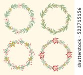 flowers wreath set. cute  ... | Shutterstock .eps vector #522715156