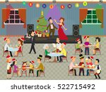 people celebrate the new year... | Shutterstock .eps vector #522715492