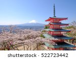 mt. fuji with chureito pagoda... | Shutterstock . vector #522723442
