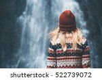 woman and waterfall travel... | Shutterstock . vector #522739072