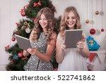 christmas holiday happy girl... | Shutterstock . vector #522741862