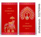india invitation card  gold... | Shutterstock .eps vector #522743446