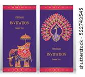india invitation card  gold... | Shutterstock .eps vector #522743545
