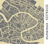 venice vector map. monochrome... | Shutterstock .eps vector #522763132