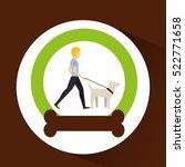 Stock vector man walking a white dog vector illustration eps 522771658