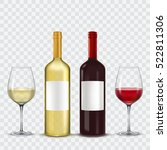 two bottles and  glasses of... | Shutterstock .eps vector #522811306
