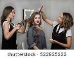 makeup and hairstyle process....   Shutterstock . vector #522825322