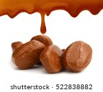 caramel candies and sweet sauce ... | Shutterstock . vector #522838882